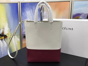 Celine Cabas Phantom Bags Original Leather C3365 OffWhite&Red
