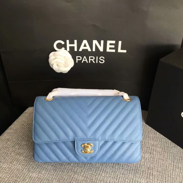 Chanel Flap Shoulder Bags Skyblue Original Calfskin Leather CF1112 Glod