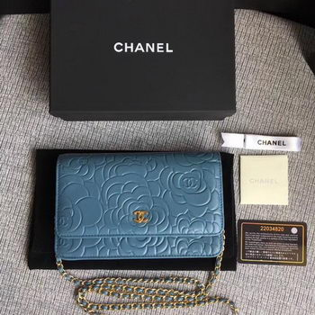 Chanel WOC Skyblue Camellia Leather mini Flap Bag A33814 Gold