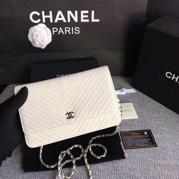 Chanel WOC Flap Shoulder Bag Offwhite Calfskin Leather A33814 Silver