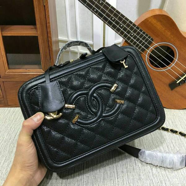 Chanel Calfskin Leather Shoulder Bag 6070 Black