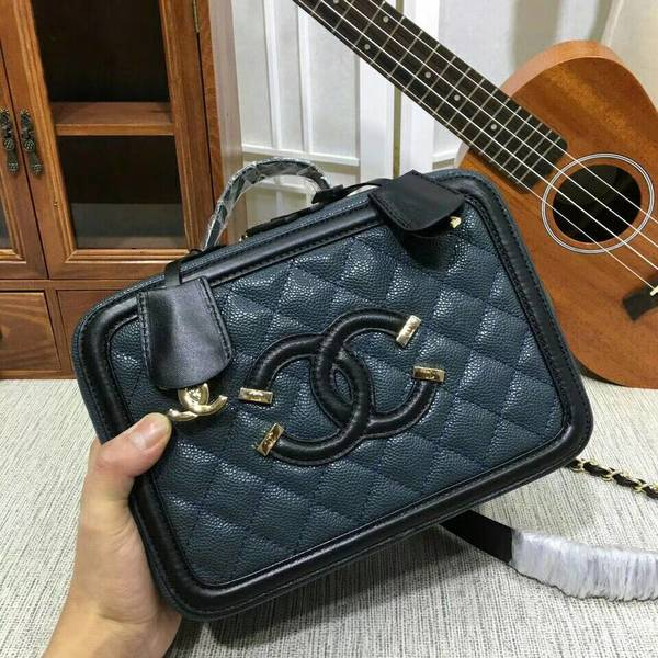Chanel Calfskin Leather Shoulder Bag 6070 Blue