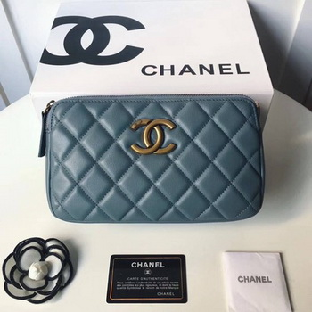 Chanel Shoulder Bag Original Sheepskin Leather A66270 SkyBlue