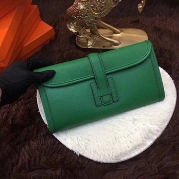 Hermes Togo Leather Clutch H88017 Green