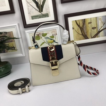 Gucci Sylvie Lather mini Bag 470270 OffWhite