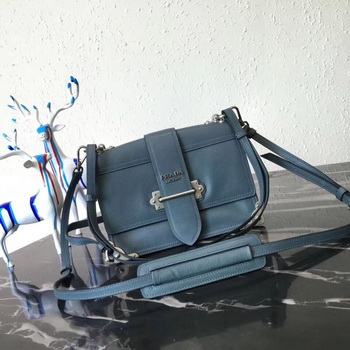 Prada Cahier Leather Shoulder Bag 1BD095 SkyBlue