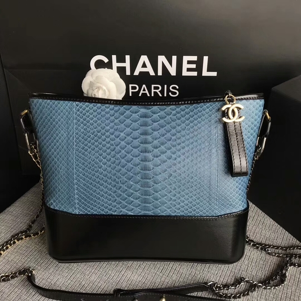 Chanel Gabrielle Shoulder Bag Original Python Leather A93842 Skyblue