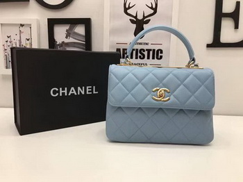 Chanel Classic Top Handle Bag Sheepskin Leather CHA2371 SkyBlue