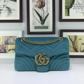 Gucci GG Marmont Embroidered Velvet Bag 443496 SkyBlue