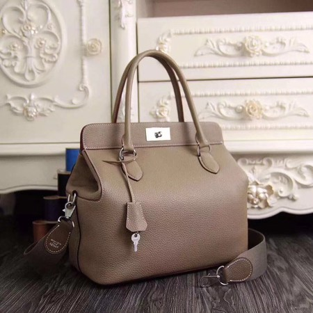Hermes Toolbox Bag Original Togo Leather H3259 Light Grey