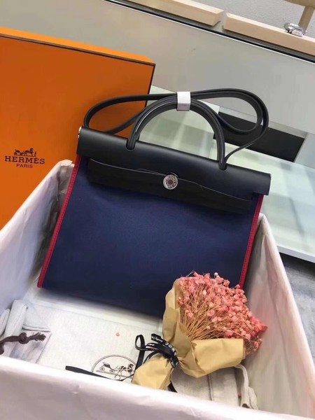 Hermes Herbag 31CM Original Canvas Leather & Calfskin 45987 Black&Blue