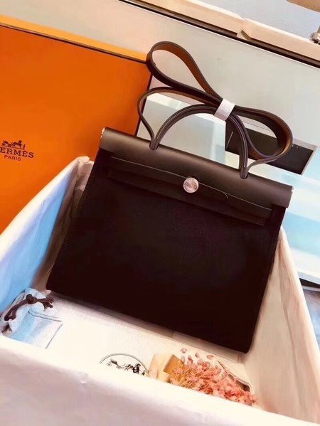 Hermes Herbag 31CM Original Canvas Leather & Calfskin 45987 Black