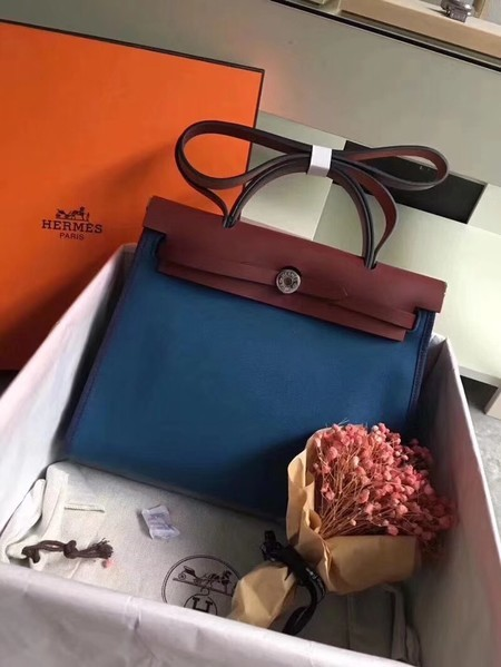 Hermes Herbag 31CM Original Canvas Leather & Calfskin 45987 Blue&Wine