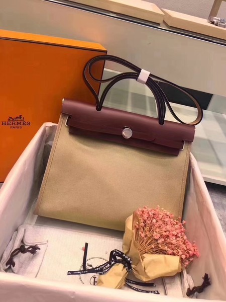 Hermes Herbag 31CM Original Canvas Leather & Calfskin 45987 Offwhite&Wine