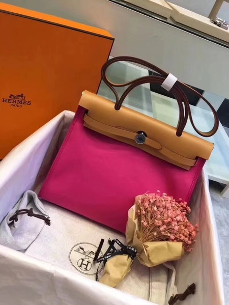 Hermes Herbag 31CM Original Canvas Leather & Calfskin 45987 Pink&Brown