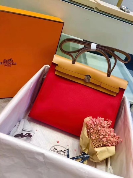 Hermes Herbag 31CM Original Canvas Leather & Calfskin 45987 Red&Apricot
