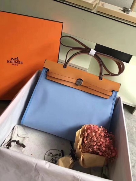 Hermes Herbag 31CM Original Canvas Leather & Calfskin 45987 Skyblue&Brown