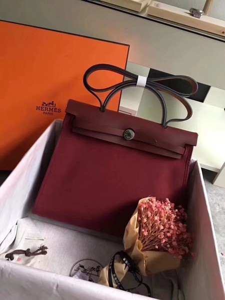 Hermes Herbag 31CM Original Canvas Leather & Calfskin 45987 Wine