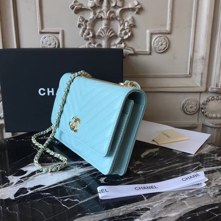 Chanel WOC Original Sheepskin Leather Shoulder Bag 33814 Skyblue
