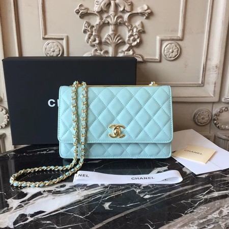 Chanel WOC Original Sheepskin Leather Shoulder Bag D33814 Skyblue