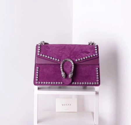 Gucci Dionysus Suede Shoulder Bag with Crystals 400249 Violet