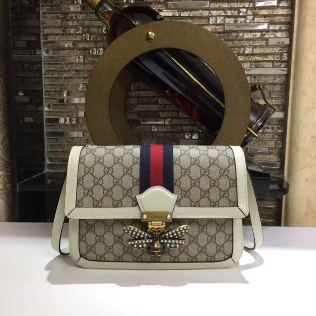 Gucci Queen Margaret GG Supreme medium shoulder bag 524356 White