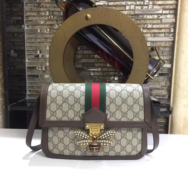 Gucci Queen Margaret GG Supreme medium shoulder bag 524356 brown