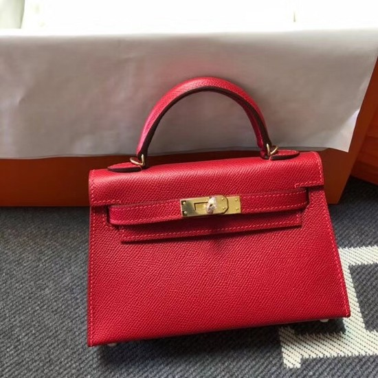 Hermes Kelly 20cm Tote Bag Original Epsom Leather KL20 red