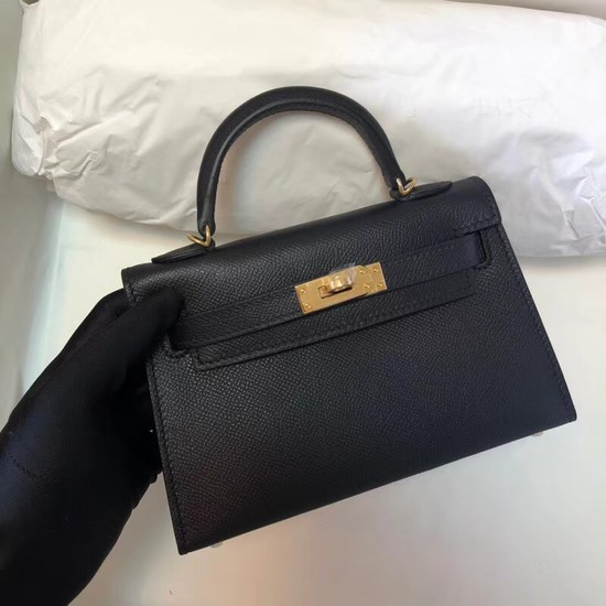 Hermes Kelly 20cm Tote Bag Original Leather KL20 black