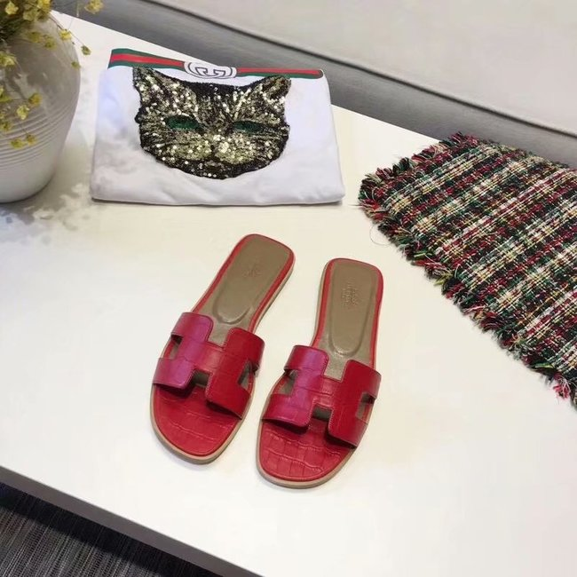 Hermes lady leather fashion Slipper HO811HMJ red