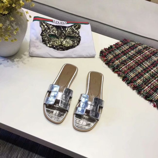 Hermes lady leather fashion Slipper HO811HMJ silver