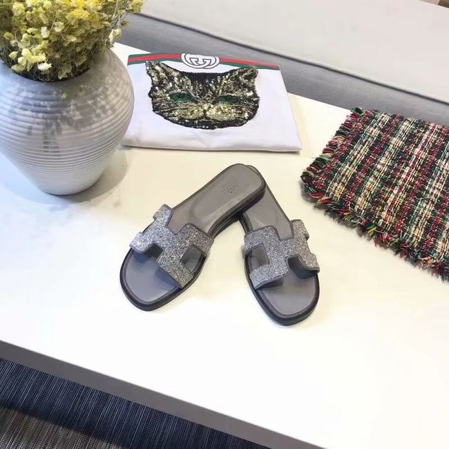 Hermes lady leather fashion Slipper HO812HMJ grey