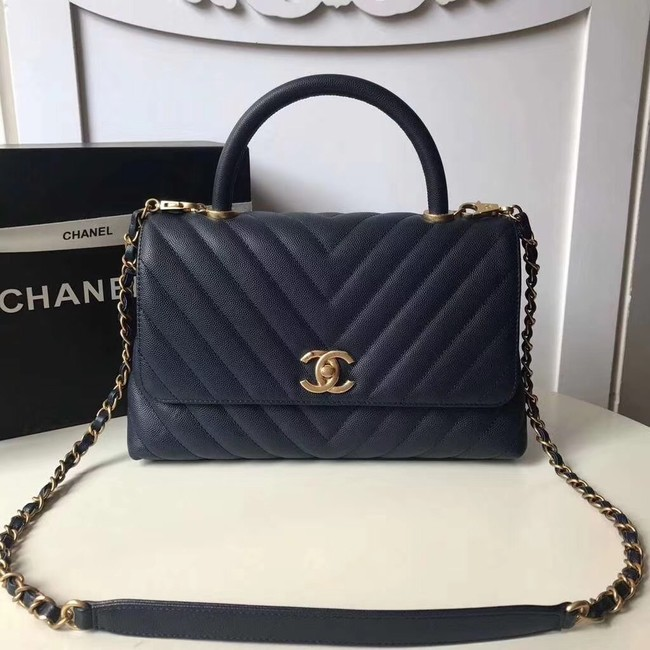 Chanel Flap Bag with Top Handle A92991 Navy Blue
