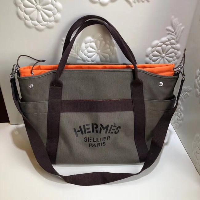 Hermes Canvas Shopping Bag H0734 Khaki