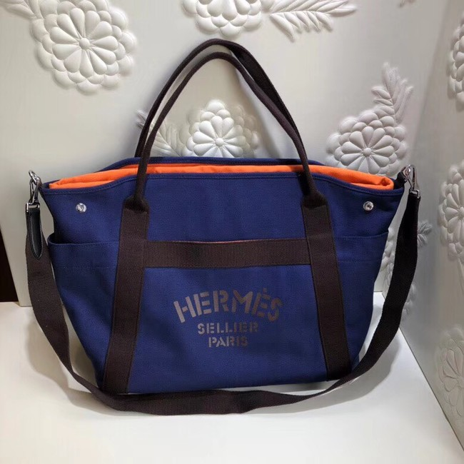 Hermes Canvas Shopping Bag H0734 blue
