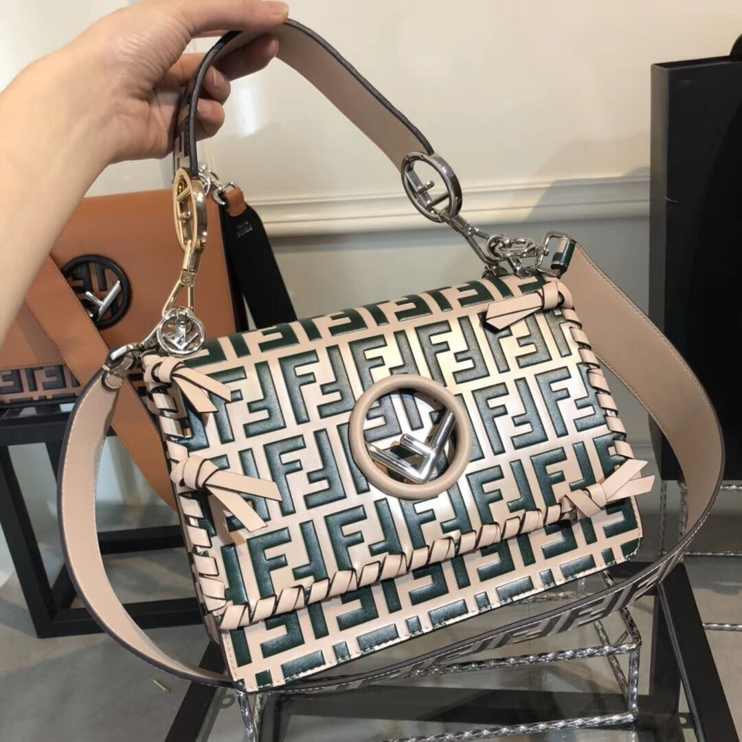Fendi KAN I LOGO Handbag medium 8BT284 green