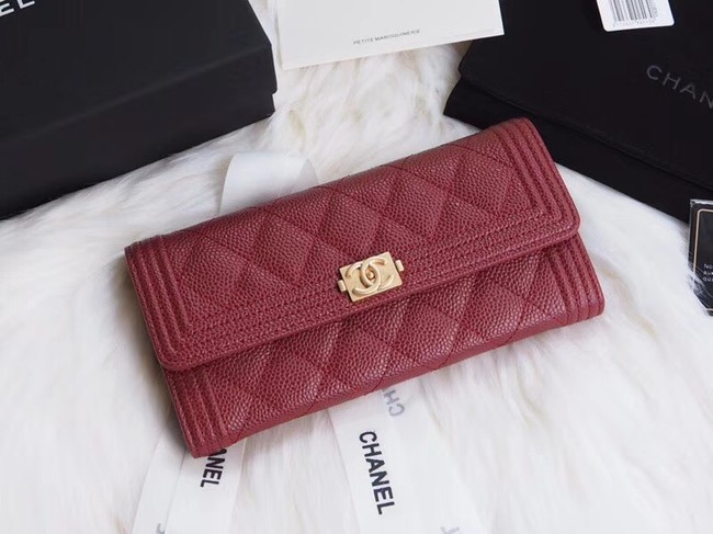 BOY CHANEL Flap Wallet A80286 red gold-Tone Metal