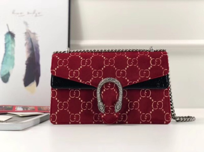 Gucci Dionysus GG velvet small shoulder bag 400249 red