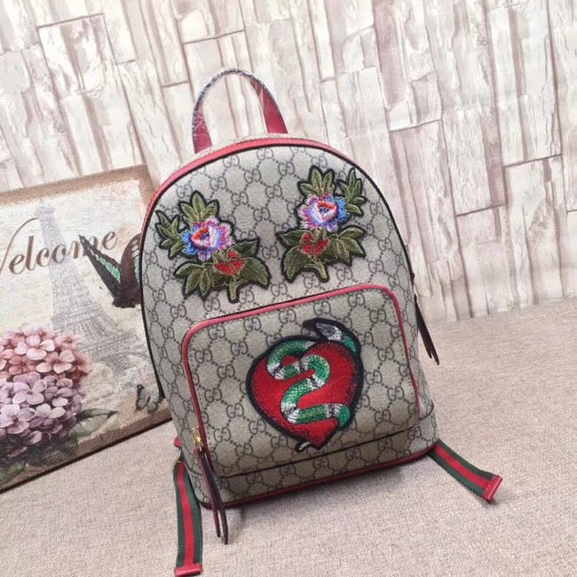 Gucci GG Supreme backpack snake 427042 red