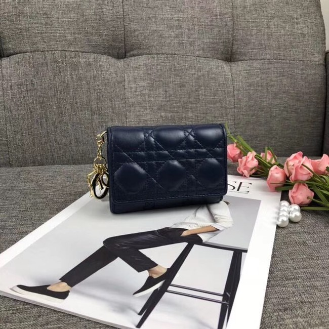 LADY DIOR LOTUS WALLET CANNAGE LAMBSKIN S0200 dark blue