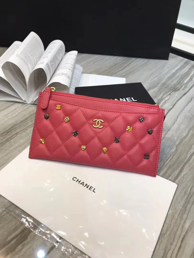 Chanel Lambskin & Gold-Tone Metal A81797 Pink