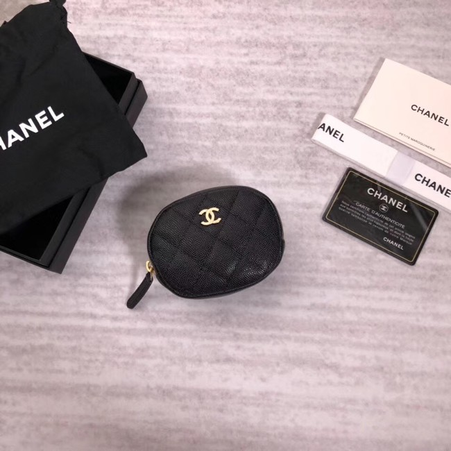 Chanel Coin Purse Metallic Grained Lambskin & Gold-Tone Metal A68995 black