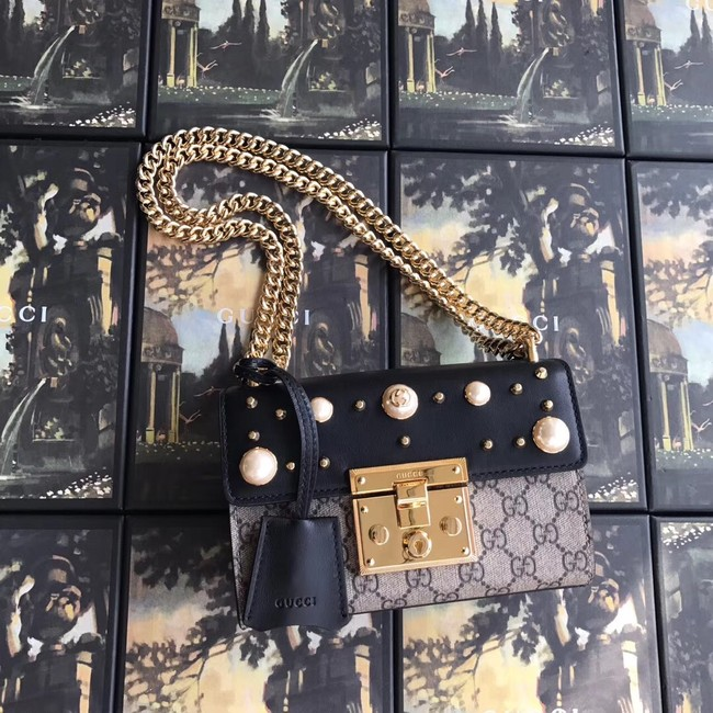 Gucci Padlock small GG Pearl shoulder bag A409487 black