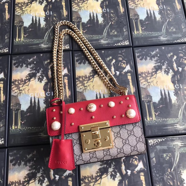 Gucci Padlock small GG Pearl shoulder bag A409487 red