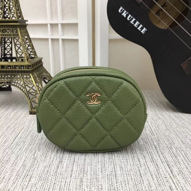 Chanel Coin Purse Metallic Grained Lambskin & Gold-Tone Metal A68995 green