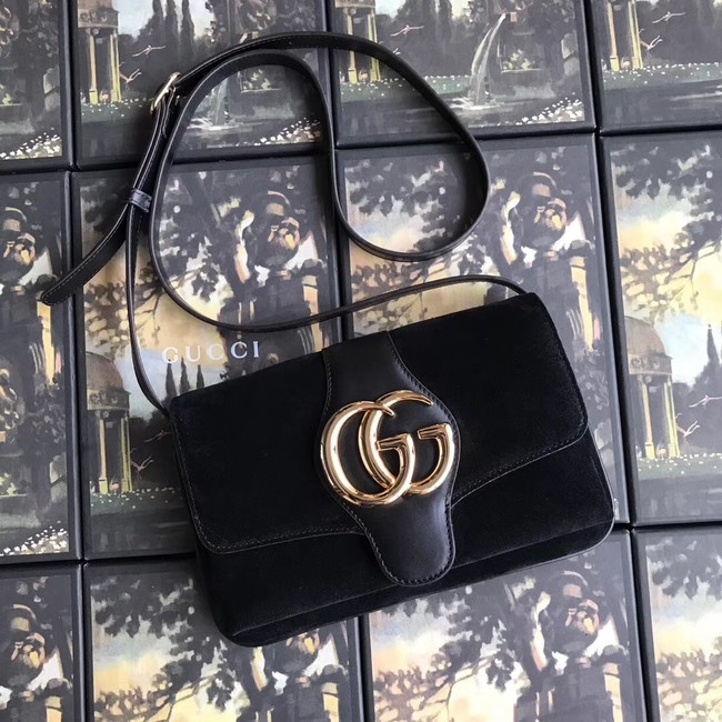 Gucci Arli small shoulder bag 550129 black suede