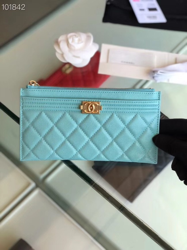 Chanel boy chanel pouch Calfskin & Gold-Tone Metal A81254 sky blue