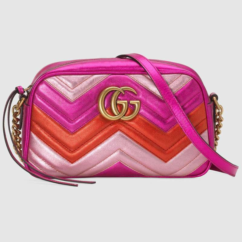 Gucci GG Marmont small matelasse shoulder bag 447632 Fuchsia&red&pink