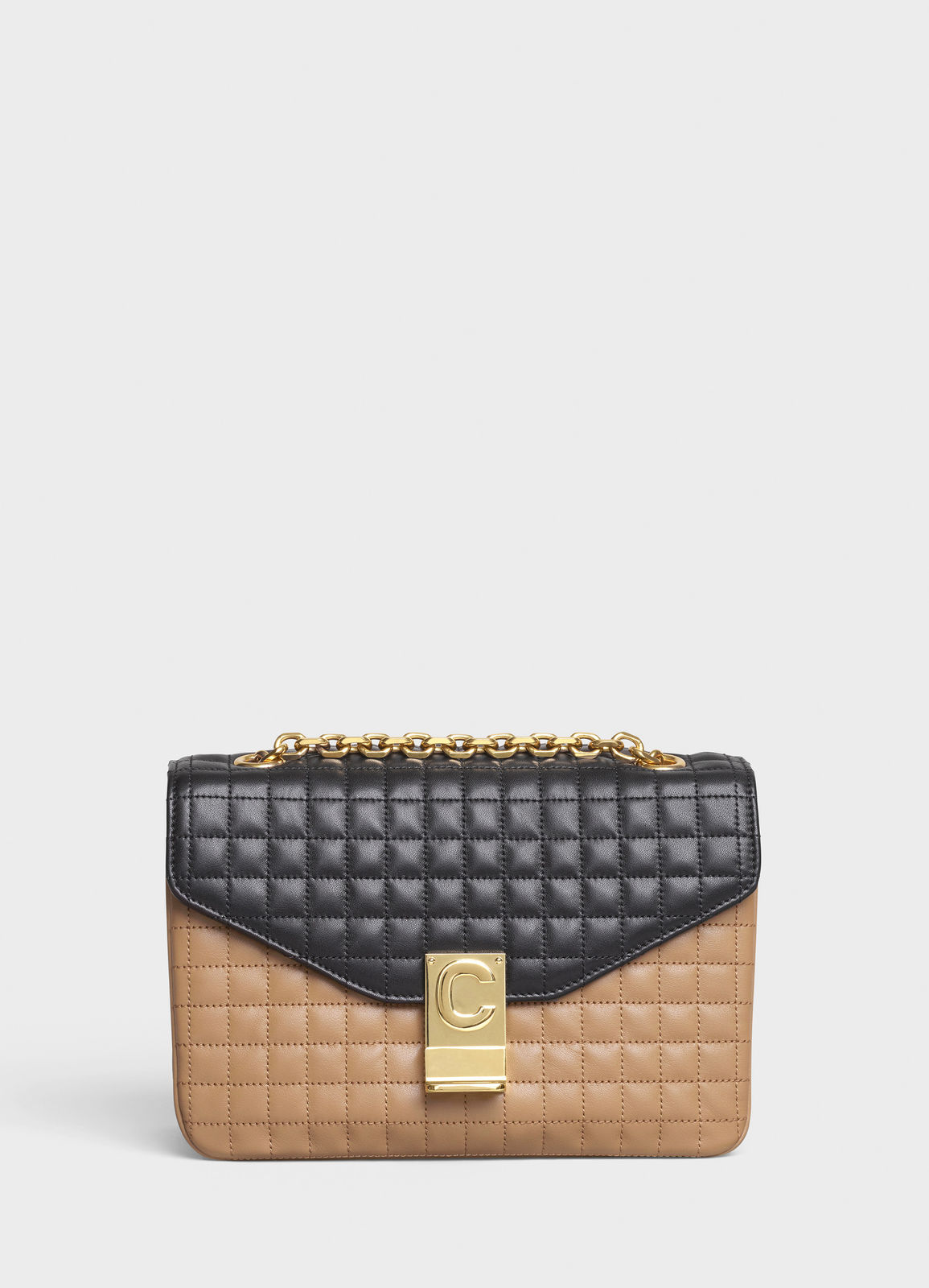 CELINE MEDIUM C BAG IN BICOLOUR QUILTED CALFSKIN CL87253 Camel&black