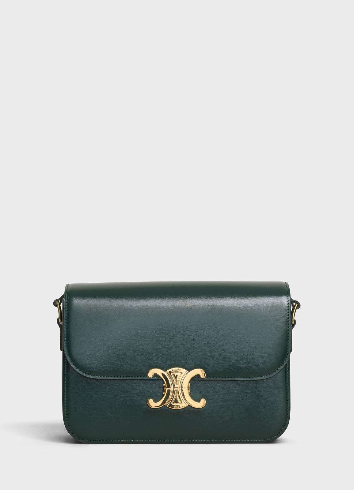 CELINE MEDIUM TRIOMPHE BAG IN SHINY CALFSKIN CL87363 GREEN